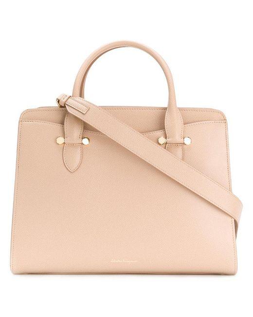 Ferragamo - Natural Double Handle Tote Bag - Lyst