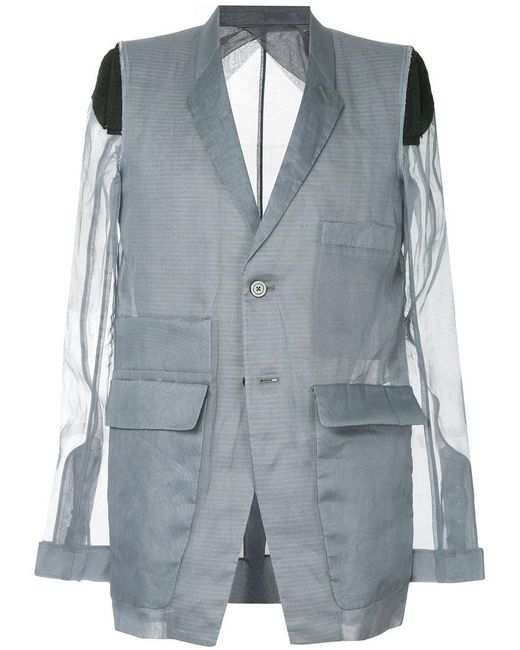 Rick Owens - Gray Deconstructed Blazer for Men - Lyst