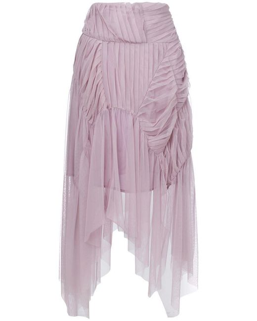 Preen By Thornton Bregazzi - Pink Pleated Asymmetric Skirt - Lyst