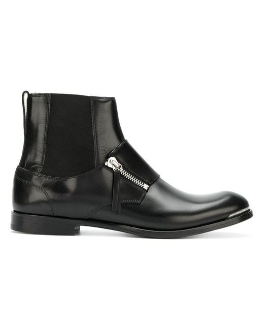 Alexander McQueen | Black Zip-detail Boots for Men | Lyst