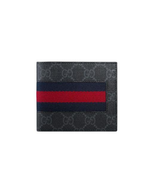 Gucci Black GG Supreme Web Coin Wallet for men