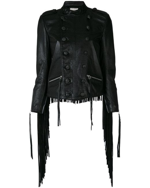 Faith Connexion | Black Tasseled Leather Military Jacket | Lyst