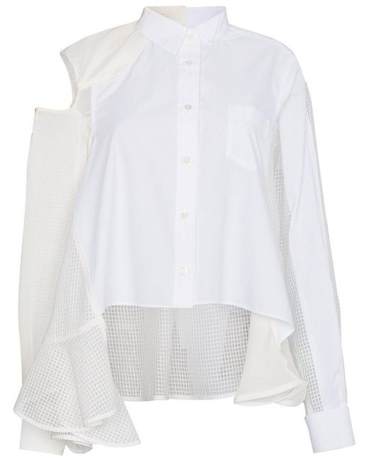 Sacai - White Button Down Satin Insert Shirt - Lyst