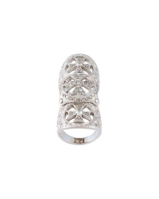 Loree Rodkin - Metallic Diamond Cross Long Ring - Lyst