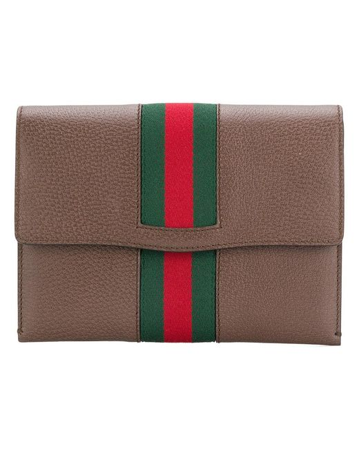 Gucci - Brown Chain Clutch With Web - Lyst