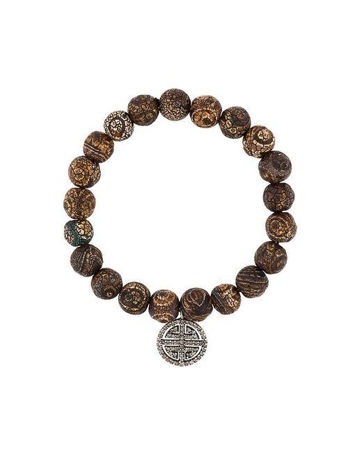 Monan - Brown Beaded Diamond Charm Bracelet - Lyst