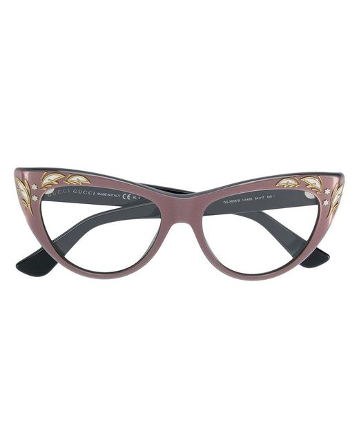 0a1e6500ba Gucci - Multicolor Embellished Cat Eye Glasses - Lyst ...