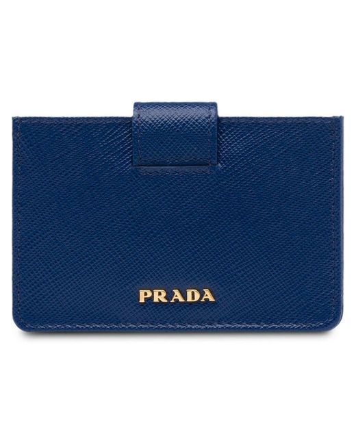 71bb5dbc52d2c0 Prada - Blue Saffiano Leather Cardholder - Lyst ...