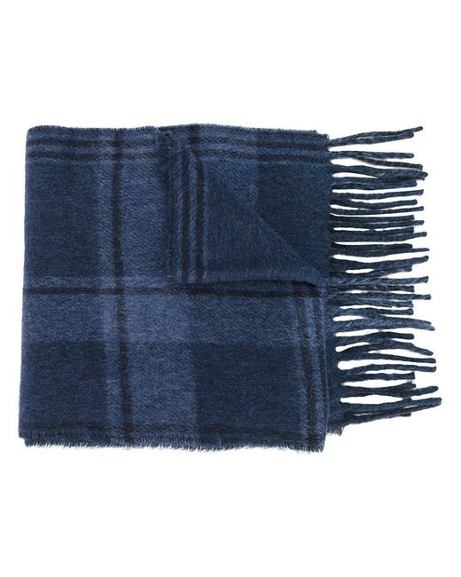 Polo Ralph Lauren | Blue Checked Fringed Scarf for Men | Lyst