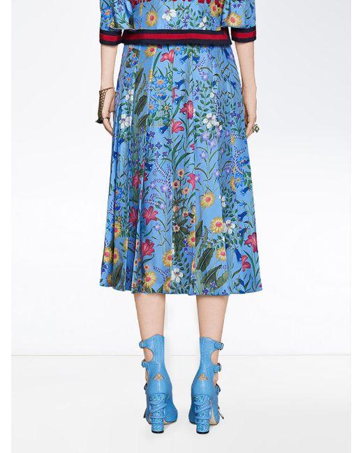 267cc5d904 ... Gucci - Blue New Flora Print Skirt - Lyst