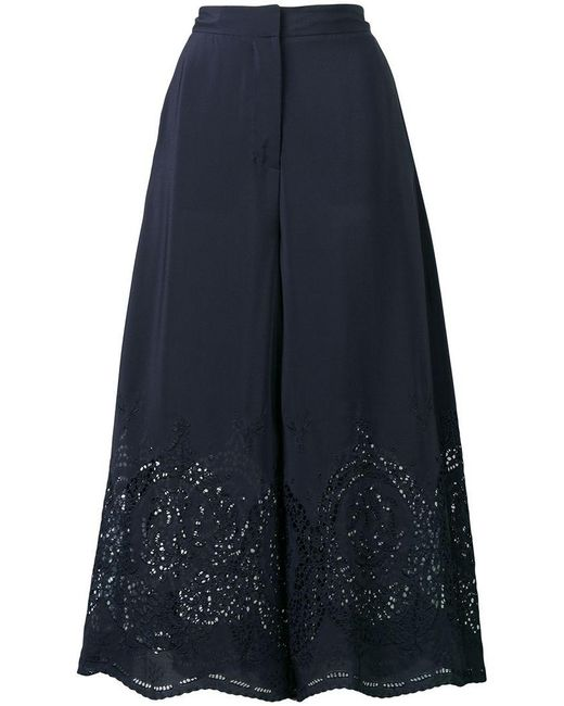 Stella McCartney - Blue Embroidered Palazzo Pants - Lyst