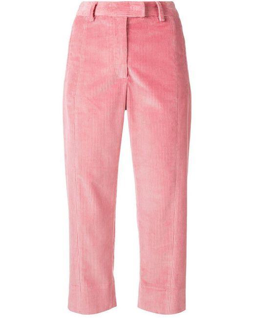 Alberto Biani - Pink Cropped Corduroy Trousers - Lyst