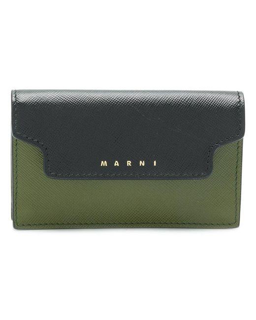 Marni - Green Textured Logo Wallet - Lyst