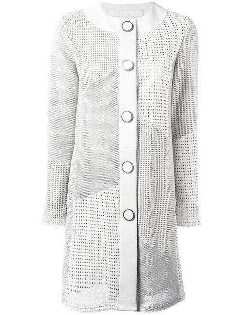 DROMe | White Collarless Leather Coat | Lyst