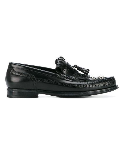 Dolce & Gabbana - Black Studded Fringe Loafers for Men - Lyst