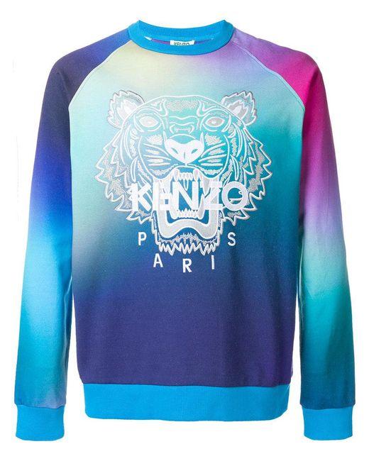 KENZO | Blue Printed Sweatshirt for Men | Lyst