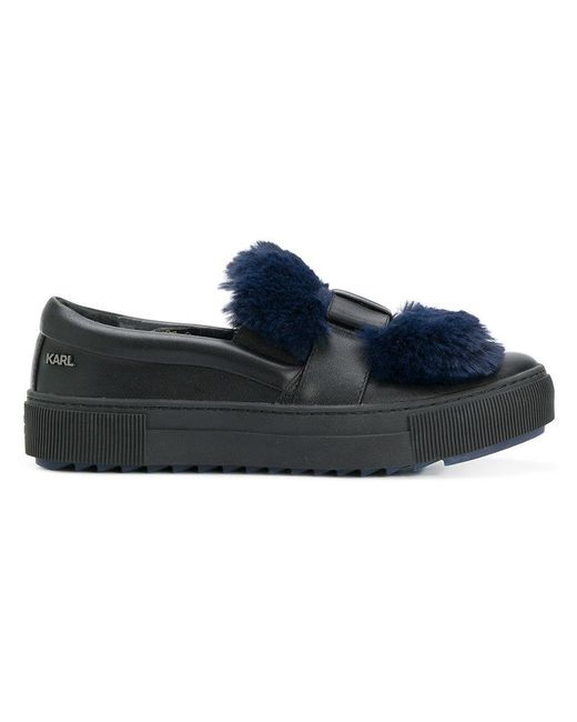 Karl Lagerfeld - Blue Fur Patch Slip-on Sneakers - Lyst