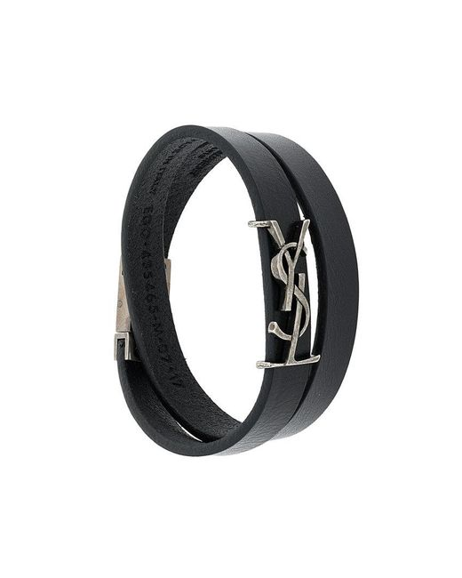 Saint Laurent | Black Logo Double-strap Bracelet for Men | Lyst