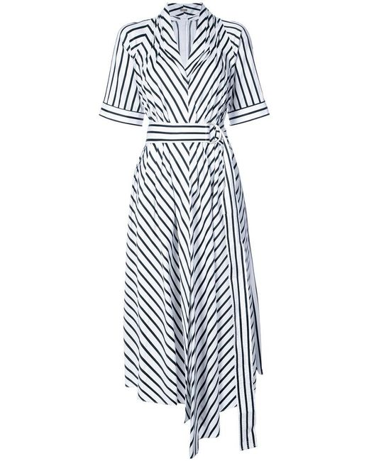 Adam Lippes - White Asymmetric Stripe Dress - Lyst