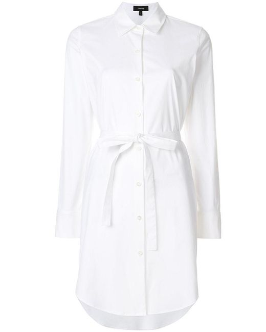 Theory - White Clean Shirt Dress - Lyst