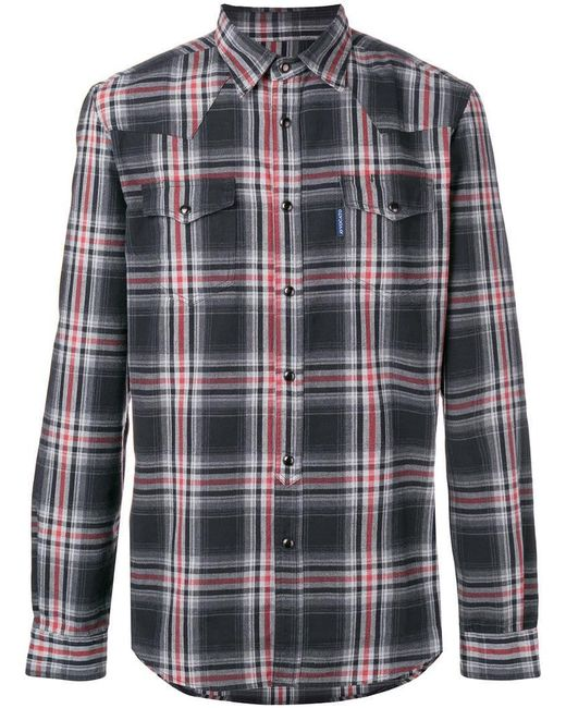 Hydrogen - Gray Checked Shirt for Men - Lyst