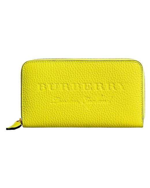 Burberry - Yellow Logo Embossed Zip Around Wallet - Lyst