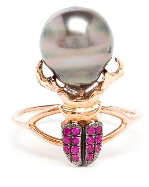 Daniela Villegas | Metallic Ruby And Pearl Beetle Ring | Lyst