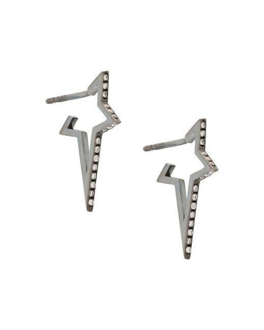 Diane Kordas - Gray Small Star Hoop Earrings - Lyst