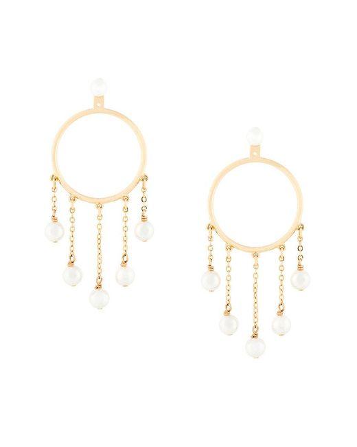 Eshvi - Metallic Hula Hoop Pearl Drop Earrings - Lyst