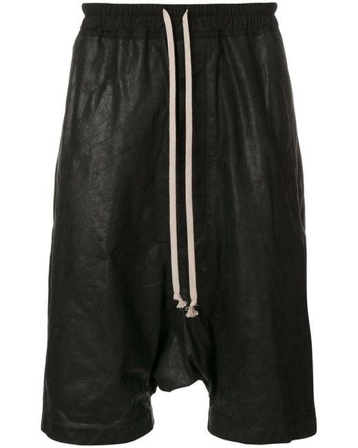 Rick Owens - Black Drawstring Drop-crotch Shorts for Men - Lyst