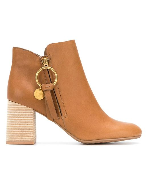 See By Chloé - Brown Stacked Heel Ankle Boots - Lyst