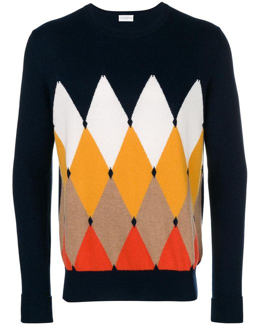 Ballantyne - Blue Argyle Print Jumper for Men - Lyst