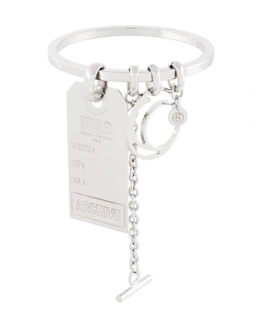 MM6 by Maison Martin Margiela | Metallic Tag Bracelet | Lyst