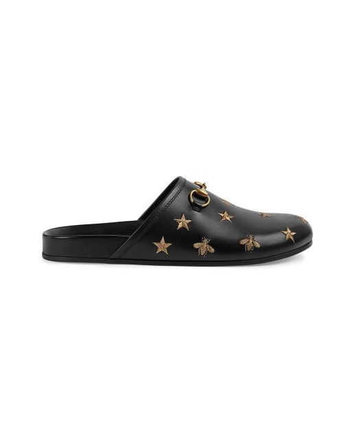 Gucci Black Horsebit Embroidered Leather Slipper for men