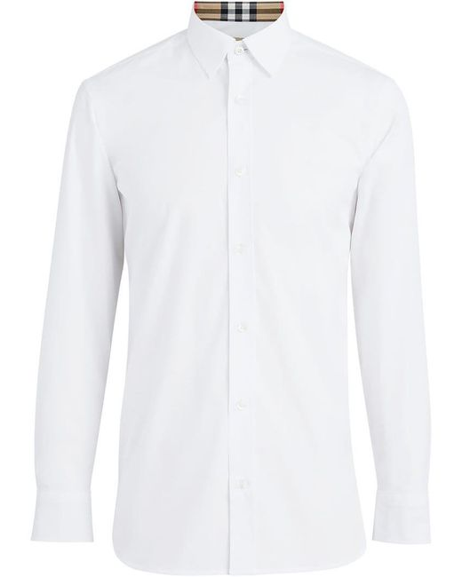 Burberry - White Popeline-Hemd mit karierten Details for Men - Lyst