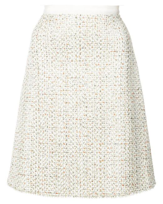 Giambattista Valli - Natural A-line Tweed Skirt - Lyst