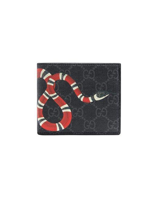 25d45a629f1590 Gucci - Black Kingsnake Print GG Supreme Wallet for Men - Lyst ...