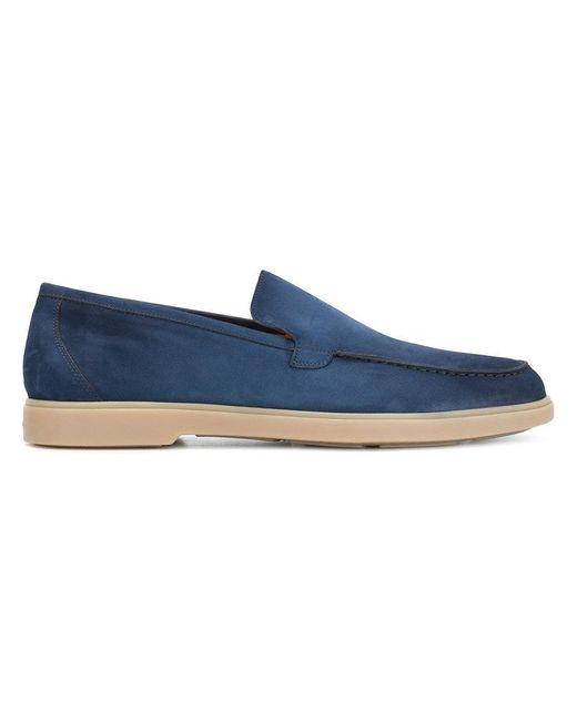 Santoni - Blue Contrast Sole Loafers for Men - Lyst