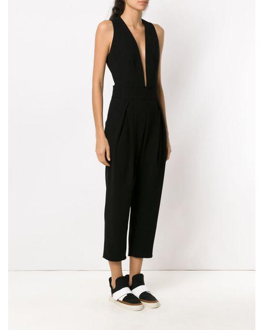 e3d7c1aa90e ... Gloria Coelho - Black Pleated Jumpsuit - Lyst ...