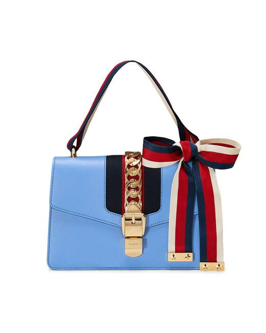 c043b8579bc56a Gucci Sylvie Leather Shoulder Bag in Blue - Save 31% - Lyst