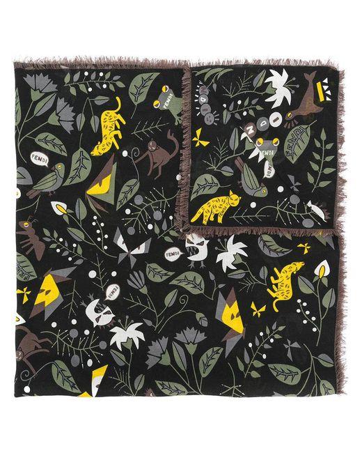 Fendi   Black Floral Embroidered Scarf for Men   Lyst