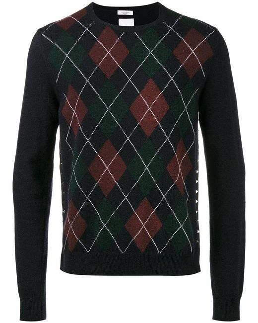 Valentino | Blue Argyle Crew Neck Sweater for Men | Lyst