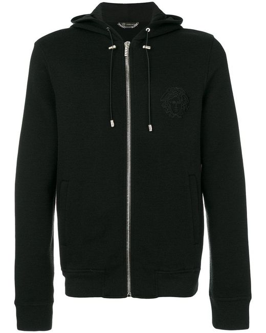 Versace   Black Medusa Embroidered Hooded Sweatshirt for Men   Lyst