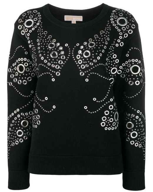 11f6ad63126 MICHAEL Michael Kors - Black Studded Detail Sweatshirt - Lyst ...
