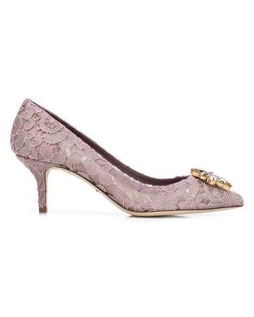 Dolce & Gabbana - Purple Lace Paneled Pumps - Lyst