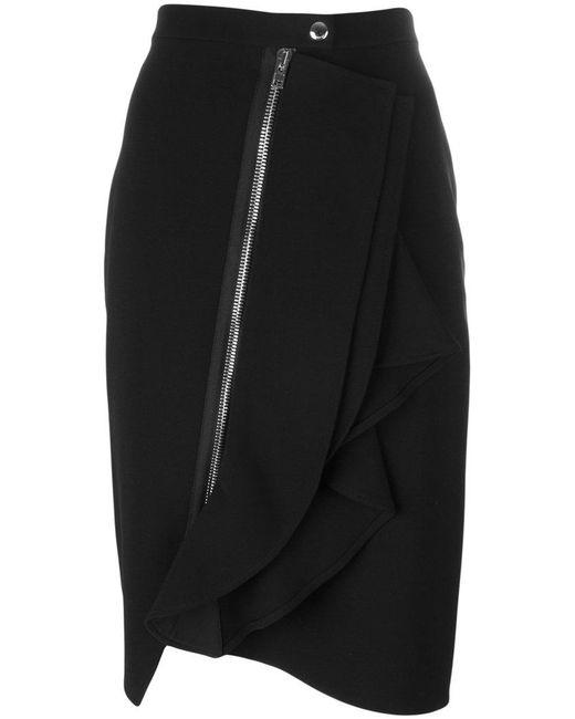 Givenchy | Black Asymmetric Ruffle Trim Skirt | Lyst
