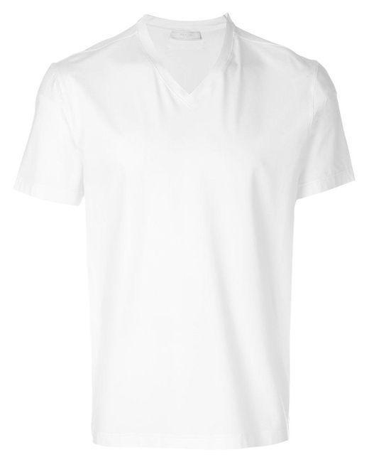 Prada | White Classic V-neck T-shirt for Men | Lyst