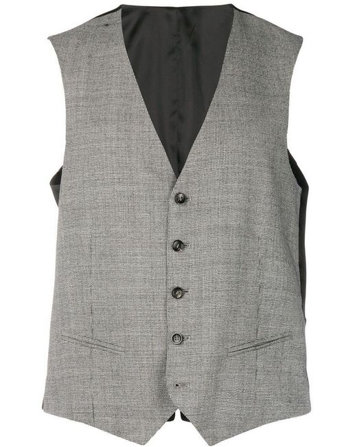 Tonello - Black Houndstooth Pattern Waistcoat for Men - Lyst