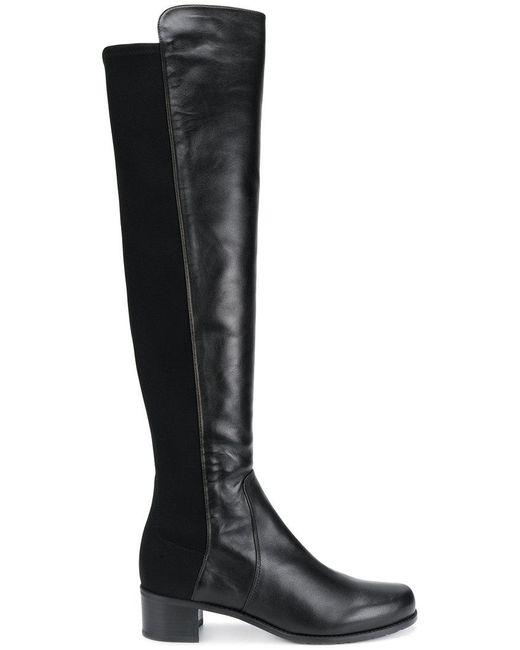 Stuart Weitzman - Black Reserve Stretch-back Leather Boots - Lyst