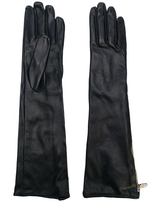 Moschino | Black Long Zipped Gloves | Lyst